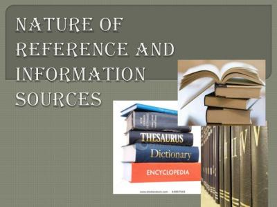 Reference Sources: Information At Your Convenience