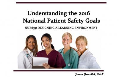 Understanding The 2016 National Patient Safety Goals